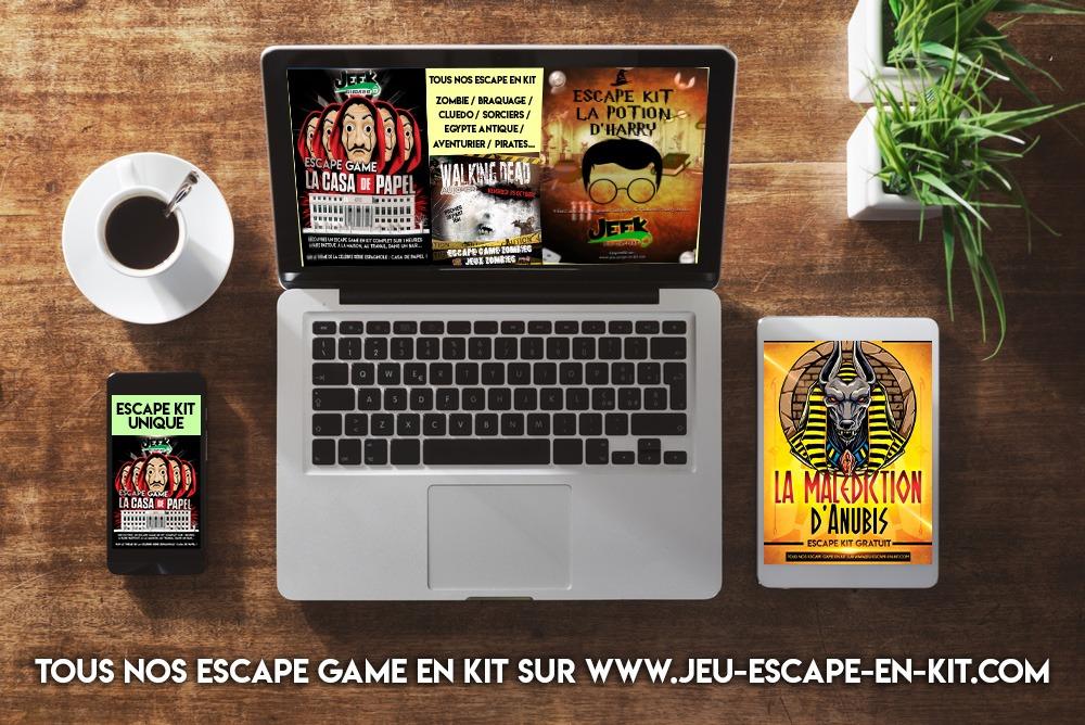 Tous nos escape en kit, escape box et jeux à la maison ou au travail